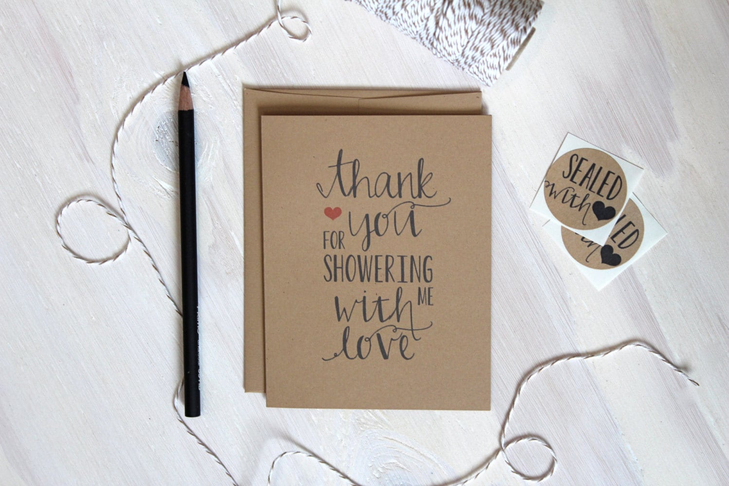 5 rustic kraft shower thank you cards