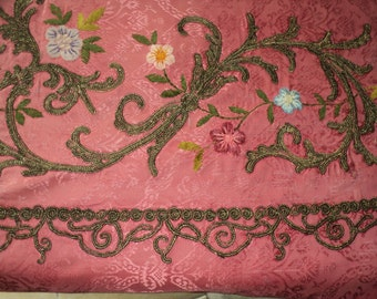 Six Foot Long Fragment Antique Brocade Pink French Embroidered with Metallic bullion and chenille Floral Appliques 1910's to 1920
