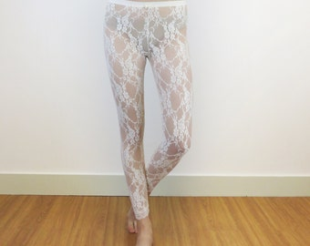 Stretch leggings - Ivory lace leggings - womens leggings - Leggings fashion - stretchy leggings - gift-for-her -