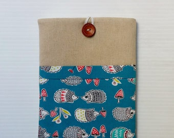 Galaxy Tab 4, Galaxy Tab Pro, iPad cover, Kindle cover, iPad mini, hedgehogs, small tablet pro padded Linen CUTE CUFF collection