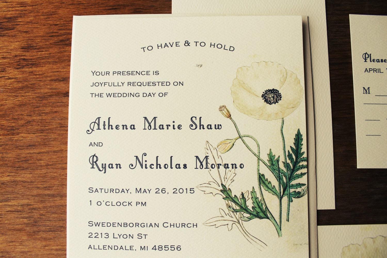 White Poppy Wedding Invitation Set Botanical Wedding