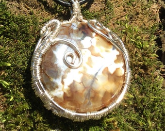 Dragons Vein Agate Pendant Necklace Silver Wire Wrap Jewelry