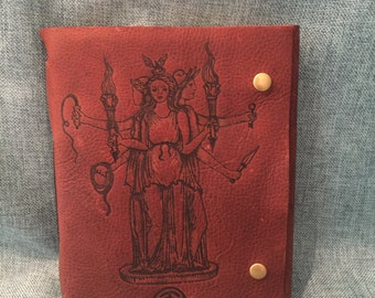 Hecate Sorceress Brown Leather Journal/ Sketchbook/ Notebook/ Spellbook