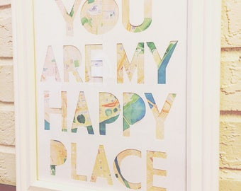 You Are My Happy Place,Mothers Day, gift for her, gift for him, Wedding, Home decor gift, anniversary, couples