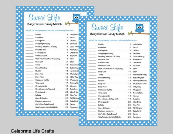 Sweet Life Baby Shower Game with Answer Key Printable Candy