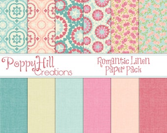 INSTANT DOWNLOAD - Printable Romantic Linen Digital Paper Pack - For Commercial or Personal Use - Digital Design