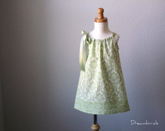 Girls Sage Green Easter Dress - Green and Cream Pillowcase Dress - Sage Green Flower Girl Dress - Size 12m, 18m, 2T, 3T, 4T, 5, 6, 8, or 10
