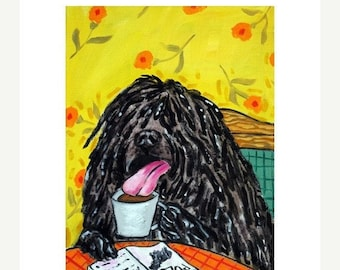 25% off Puli at the Coffee Shop Dog Art Print 11x14 JSCHMETZ MODERN pop art folk art JSCHMETZ abstract