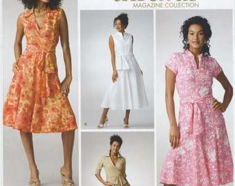 Fitted Bodice Flared Dress Sewing Pattern Size 6 8 10 12 14 Simplicity 3877, Uncut, Cup Size B, C, D, Front Tie, Spring Summer Beach Dress