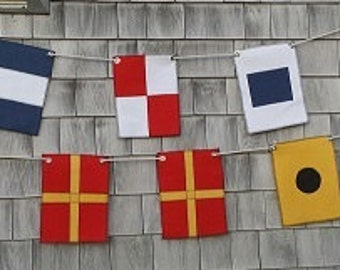 NEW!!  Outdoor Fabric....Your Names....Initials....Titles or anything...... displayed in Nautical Maritime Flags