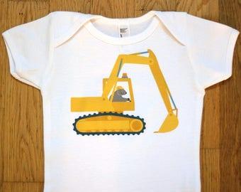 Construction Baby Clothes - Digger Onesie - Excavator Baby Shirt - Wombat Onesie