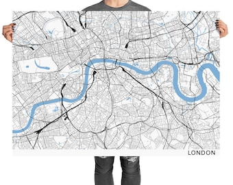 London - United Kingdom - Minimal Line Map - large rectangular