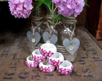 Floral Napkin Rings - Six Napkin Rings - Napkin Holders - Vintage Napkin Rings - Wood Napkin Rings - Flower Napkin Ring - Rustic Decor