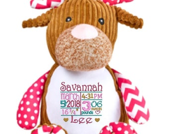 """DEER 12"""" plush stuffed pink / brown w/ custom embroidery! Any occasion, embroidered, monogrammed, personalized gift, customized animal"""