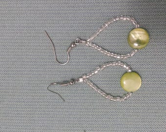 Silver and lime green shell earrings, dangling earrings, dangle earrings, drop earrings, beaded earrings, beach jewelry, shell jewelry