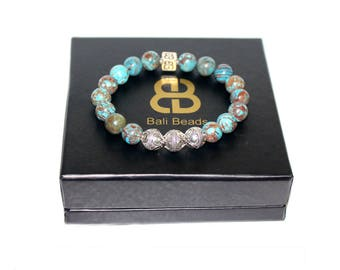 Blue Jasper and Sterling Silver Bracelet, Men's Blue Bracelet, Bead Bracelet Men, Blue Jasper Bracelet. Bracelet for Men, Beaded Bracelet
