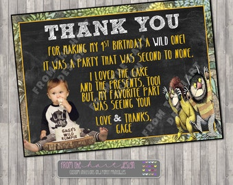 Where the Wild Things Are Theme Custom Birthday Party Thank You Card