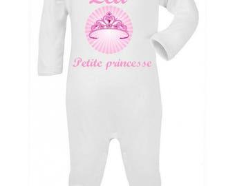 Pajamas baby Princess Crown personalized with name