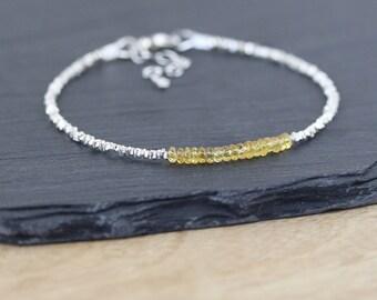 Padparadscha Sapphire, Sterling & Karen Hill Tribe Silver Bracelet. Dainty Yellow Gemstone Stacking Bracelet. Thin Delicate Beaded Bracelet