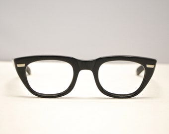 Vintage 1950's SWAN Horn Rim Eyeglasses / Jet Black / Retro Collectable Rare #1595