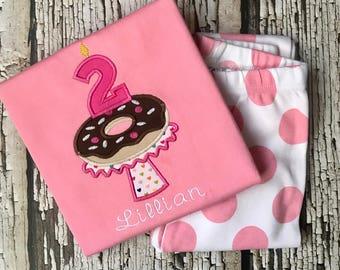 Donut Birthday Pajamas - Personalized Breakfast Pajamas - Donut PJS - Pink Pajamas - Girls Birthday PJ - Monogrammed Birthday- Doughnut PJS