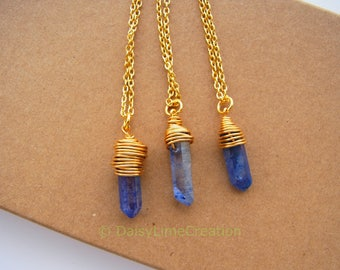 Healing Chakra Point Pendant Gold Plated Necklace Wire Wrapped Rock Crystal Necklace Gift