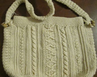 Beautiful Aran Crocheted Tote Bag