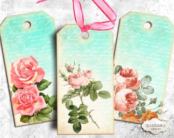 Rose Tags - Instant Download - Digital Collage Sheet - Printable Tags - Digital Cards - Vintage Tags - atc - aceo - vintage cards