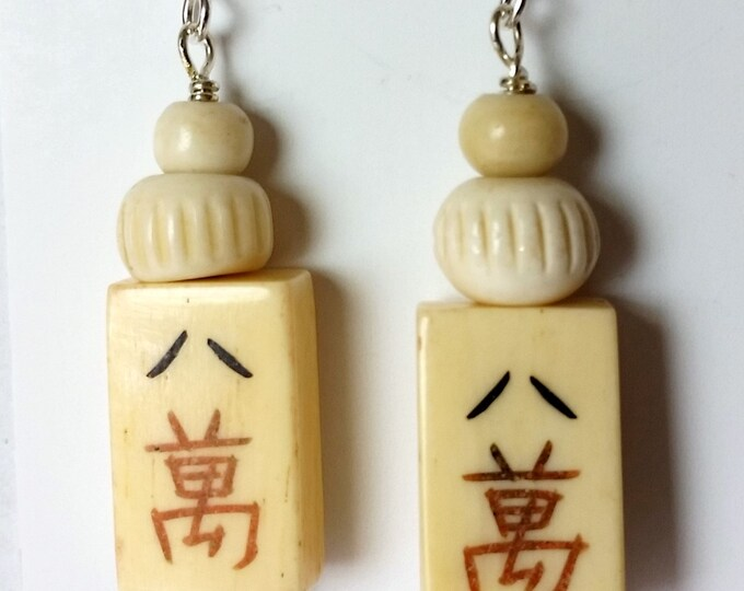 Mahjong Tile Earrings - Lucky 8 Crack Earrings - Domino Shaped Bone Earrings - Chinese Style Tile Mahjong Earrings - Asian Game Earrings