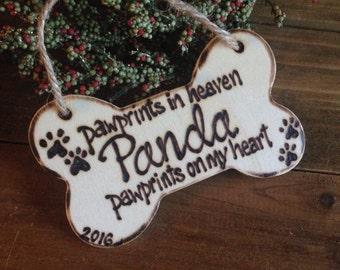 Dog memorial ornament pet loss dog bone pawprints heaven furbaby sympathy holiday Christmas personalized
