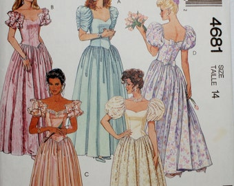 McCall's 4681 Misses' Vintage Gown, Dress Sewing Pattern Size 6,8,10,12,14,16,18