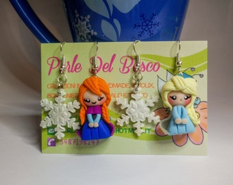 Frozen Clay Earrings/ Elsa and Anna Earrings in Polymer Clay/ Orechini con Elsa e Anna in Fimo