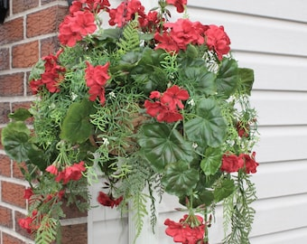 Silk Hanging Plant - Red Geranium with long greens