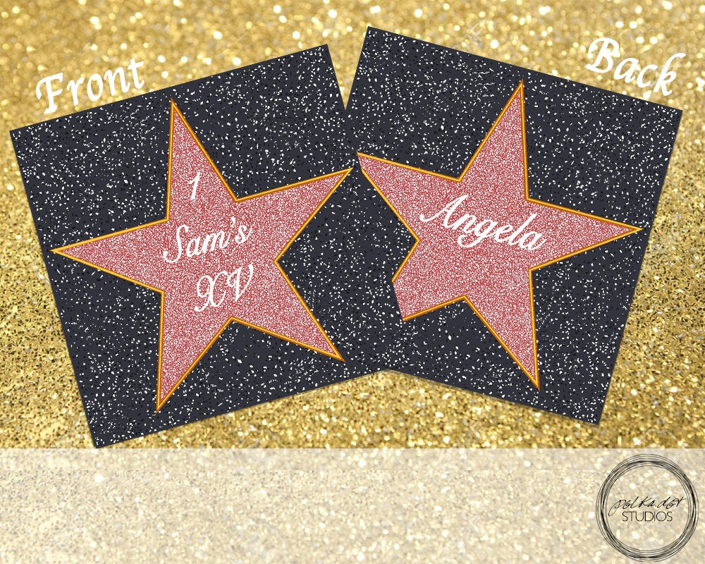 double sided place card template - hollywood star customizable double sided place card for events
