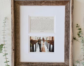 Wedding Frame   Wedding  Picture Frame   Anniversary Gift : Framed Vows or Song Lyrics with Matching Picture Frame