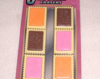 Cookie Food Erasers Pink Orange Brown Pencil Erasers Kid's Crafts Drawing Boy Girl Party Supplies Bag Filler Favor Stuffer School Supplies