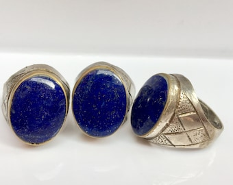 Only one left: Lapis lazuli ring, statment ring, vintage lapis rings, afghan jewelry, vintage ring, lapis statement ring, lapis ring, big ri