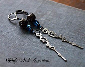Blue Crystal Clock Hand Steampunk Earrings