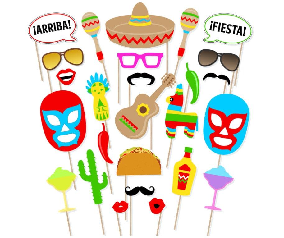 Ideal Printable Mexican Fiesta Photo Booth Props Cinco De Mayo SE51