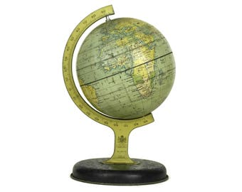 Vintage World Map Globe No. 10175 by Chad Valley Co Ltd. 1950's Lithograph Tin Toy Globe. Earth Model Globe. French Atlas. Office Desk Decor