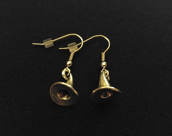 WITCH HAT Charm Earrings Stainless Steel Ear Wire Silver Metal Unique Gift