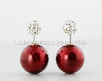 SALE Tribal Earrings - Double Pearl Earrings, Double Sided Earrings, Double Tribal Earrings, Metallic Dark Red