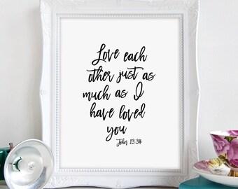 Bible Verse Sign, Christian Wall Art, Bible Verse Wall Art, Christian Art, John 13 34, Love Each Other, Printable Art, Wall Art