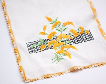 Vintage Hand Embroidered  Bureau Scarf, Crocheted Edge, White with Orange Flowers