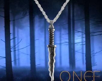 Once Upon A Time Rumpelstiltskin, Belle silver necklace with Dark One Dagger  Free UK Post