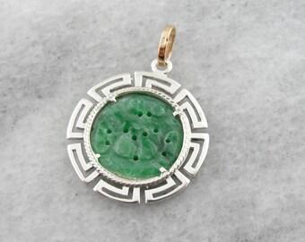 Greek Key Frames Carved Jade Pendant, Sterling Silver and Gold CALM2J-N