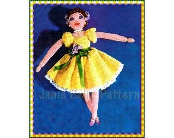 Crochet Ballerina Doll Pattern, Vintage Doll Pattern, Vintage Crochet... Instant Download PDF ... J261