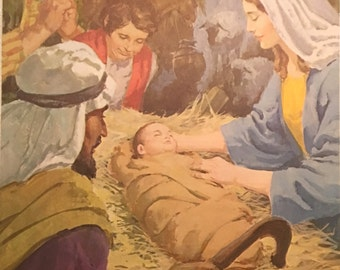 Vintage Sunday School Photos of Jesus' Birth and Resurrection, Children Praying, Church