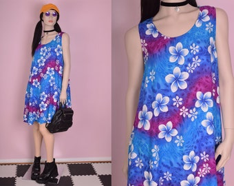 90s Floral Print Trapeze Dress/ One Size/ 1990s/ Tank/ Sleeveless