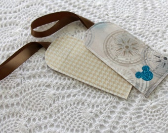 Set of 2 - Houndstooth and Compass - Luggage Tags
